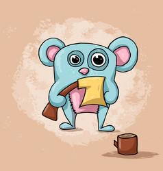 funny cute crazy bear cartoon vector image