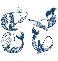 Funny whales vector image vector image