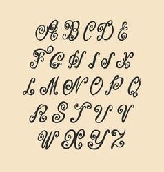 hand written old swirl lettering alphabet vector image