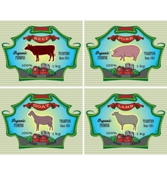 icons pig cow sheep goat vector image
