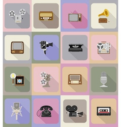 multimedia flat icons 20 vector image vector image