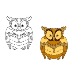 Owl with retro stylized brown feathers vector image vector image