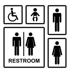 restroom icons set vector image vector image