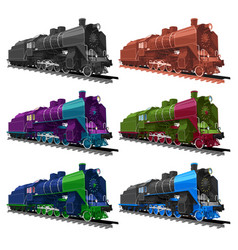 set of old steam locomotive vector image vector image