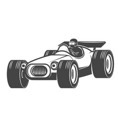 vintage racer car isolated on white background vector image