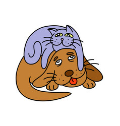 Funny cat laying on the dog vector