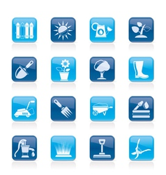 Gardening tools and objects icons vector image