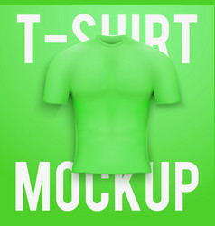Green t-shirt on background Product mockup vector image