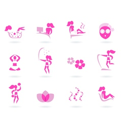 pink spa wellness icons vector image vector image
