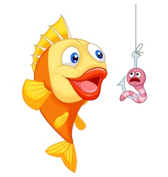 Scared cartoon worm with hungry fish vector image
