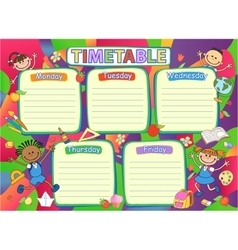 School timetable schedule colorful vector image vector image