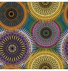 Seamless bright pattern with oriental mandalas vector image vector image