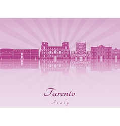 Tarento skyline in purple radiant orchid vector image
