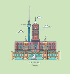 banner of berlin city in line trendy styletravel vector image vector image