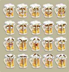 cute series of smiles beer stickers vector image