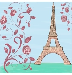 Eiffel tower vintage background vector image