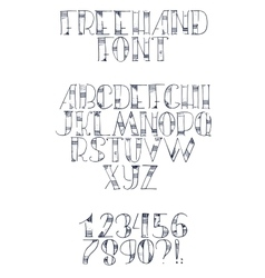 Freehand hand drawn font with english letters from vector image vector image