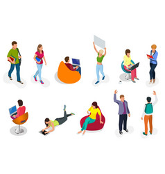 isometric set of students with gadgets and books vector image vector image