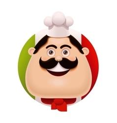 Italian chef with mustache icon vector image vector image