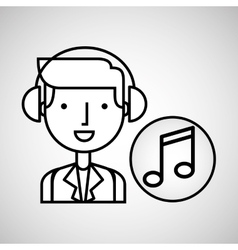 Man hand drawing listening music note vector