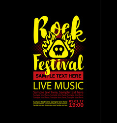 poster for a rock festival with skull on fire vector image
