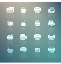 Set of Printer icons on Retina background vector image vector image
