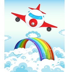 Airplane and rainbow vector image