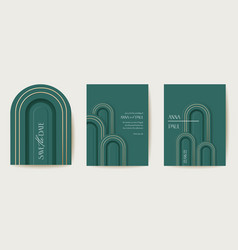 art deco luxury card set modern minimal vector image