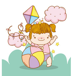Baby girl with kite and ball toys vector