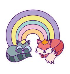 baby shower cute raccoon and fox rainbow cartoon vector image