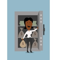 Black businesswoman opening bank safe vector