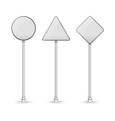 Blank white traffic road signs on white background vector image