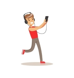 Boy with headphones and music player child and vector