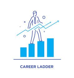 Businessman climbing graph career success vector