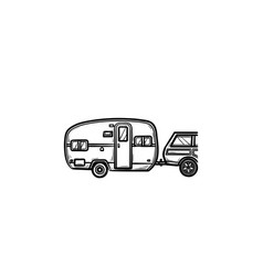 camper trip hand drawn outline doodle icon vector image