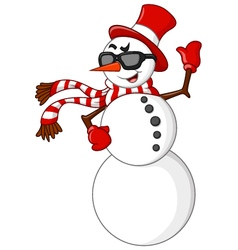 cartoon snowman waving hand vector image