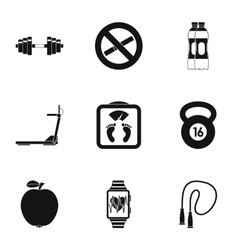 Classes in gym icons set simple style vector image
