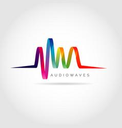 colorful audio waves logo symbol icon vector image