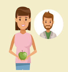 Colorful poster half body woman holding an apple vector