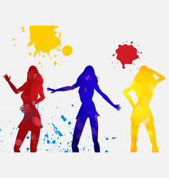 Coloured dancing female silhouettes on white vector
