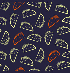 contrast yellow and red tacos on dark pattern vector image