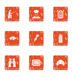 cool fishing icons set grunge style vector image