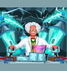 Crazy scientist at work vector