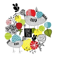 Creative print with birds and design elements vector image