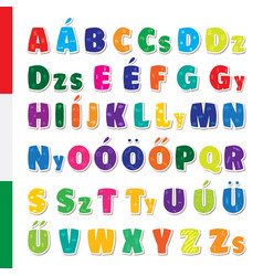 Cute funny childish hungarian alphabet vector