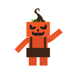 cute halloween pumpkin monster cartoon character vector image