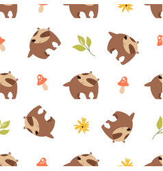 cute seamless pattern with funny forest badgers vector image