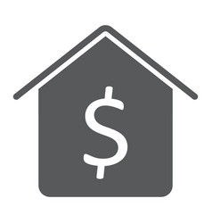 dollar house glyph icon real estate and home vector image