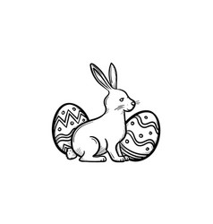 Easter bunny and eggs head hand drawn outline vector