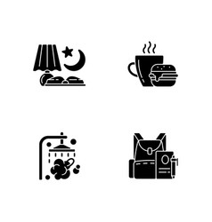 Everyday schedule and routine black glyph icons vector